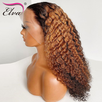 Yonce Wig Ombre Lace Front Human Hair Wigs Curly 13x6 Lace Frontal Wig Pre Plucked Hairline With Baby Hair Elva Remy Hair Wig