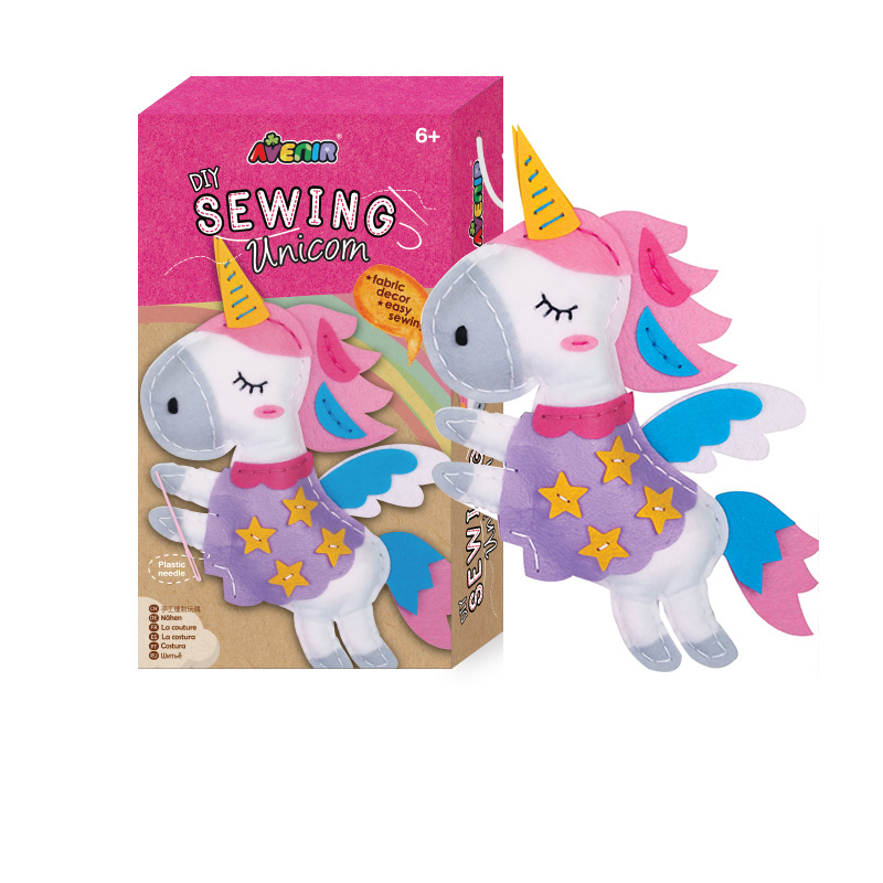Parrowbebe Above 6 Years Kid DIY Training Unicorn Toy Children Fancy Cloth Colorful Handmade Cartoon Animal Doll Girl Sewing Toy