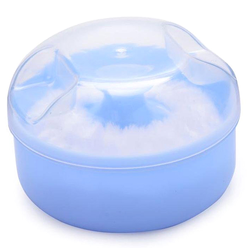 Baby Soft Face Body Cosmetic Powder Puff Sponge Box Case Container (Blue)