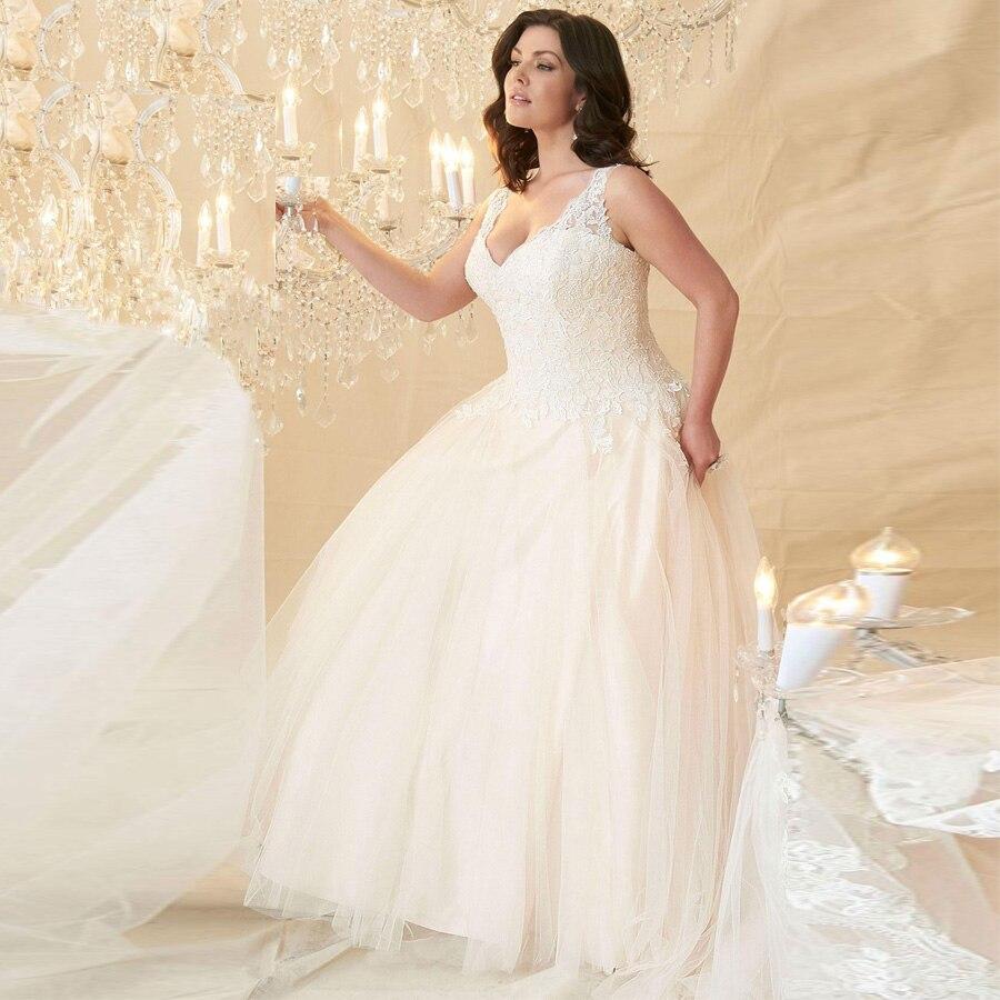 Cheap Wedding Dresses Plus Size A-line Lace Cap Sleeve V-neck Tulle Wedding Bridal Gowns Robe De Mariage For Big Women