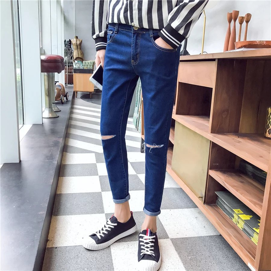 2018 Knee With Holes Black Jeans Knee A- Line Broken Skinny Pants Korean-style Beggar With Holes W-f28-jf39
