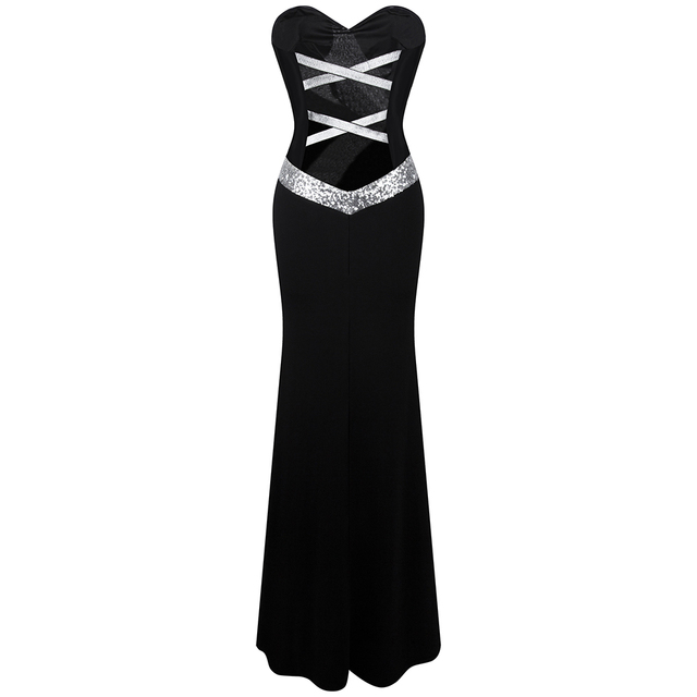 Long Prom Dress Angel-fashions Women's Strapless Criss-Cross Classic Mermaid Party Gown Black White 331 2