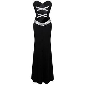 Image 2 - ארוך לנשף שמלת מלאך אופנת נשים של סטרפלס שתי וערב קלאסי בת ים המפלגה שמלת שחור לבן 331