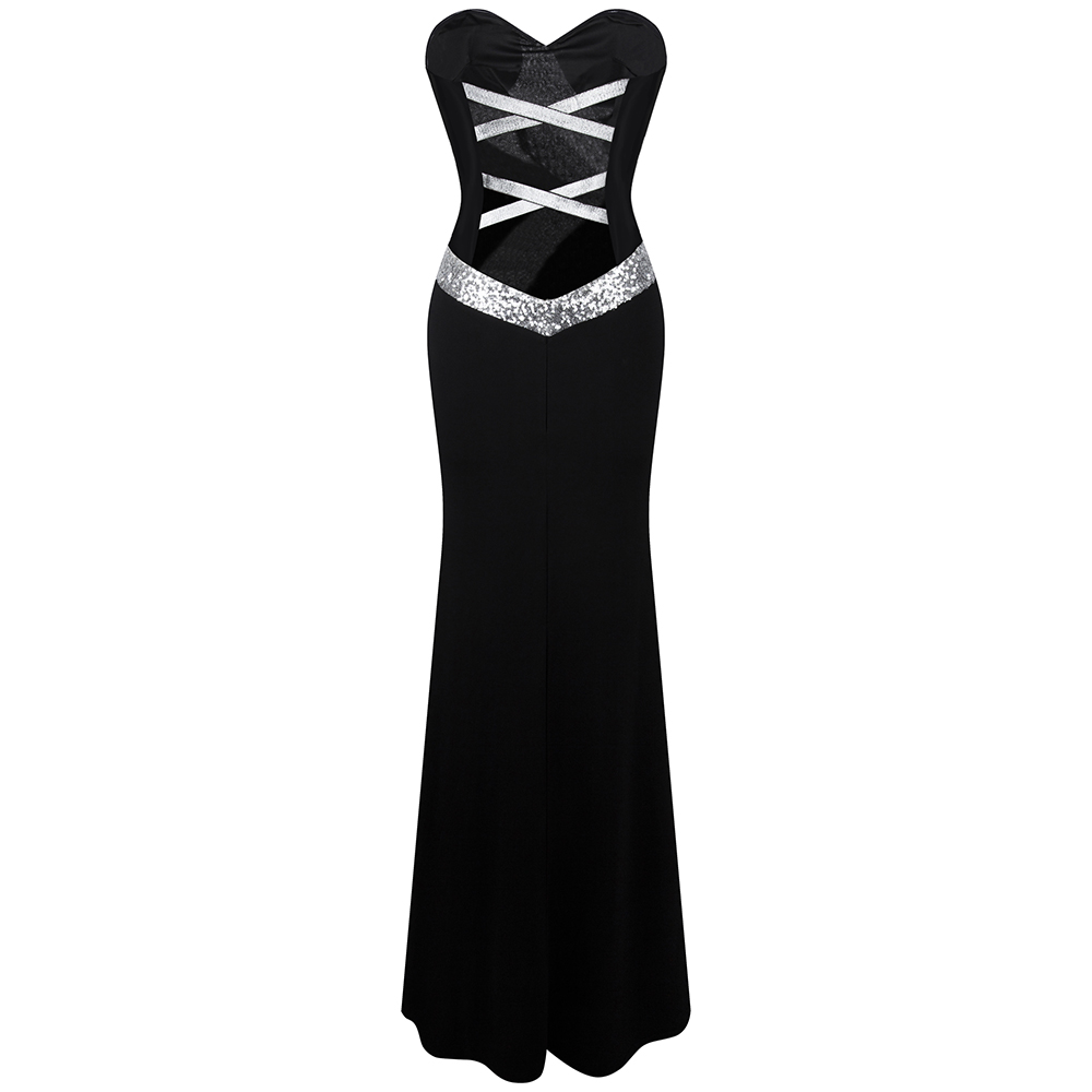 Long Prom Dress Angel fashions Women s Strapless Criss Cross Classic Mermaid Party Gown Black White