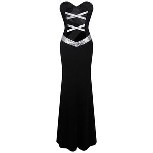 Image 2 - 긴 댄스 파티 드레스 천사 패션 여성 strapless criss cross 클래식 인어 파티 드레스 블랙 화이트 331