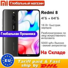 Смартфон Xiaomi Redmi 8 с глобальной ПЗУ, 4 ГБ, 64 ГБ, Восьмиядерный процессор Snapdragon 439, двойная камера 12 Мп, мобильный телефон, 5000 мАч