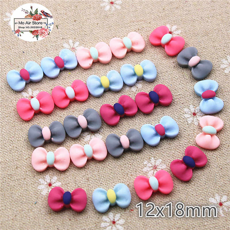 50pcs 12x18mm small bow multicolor resin flatback cabochon DIY jewelry/phone/nail art decoration
