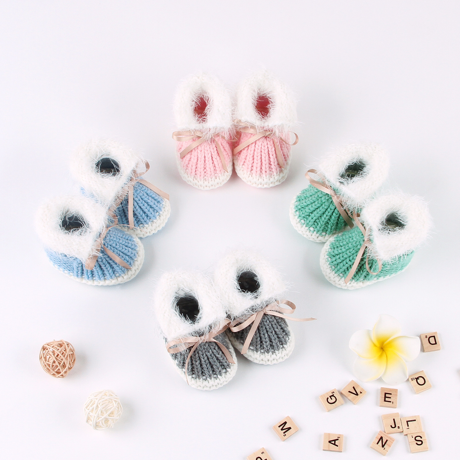 Baby Shoes Infants Crochet Knit Fleece Warm Boots Toddler Girl Boy Wool Snow Crib Shoes Winter Booties