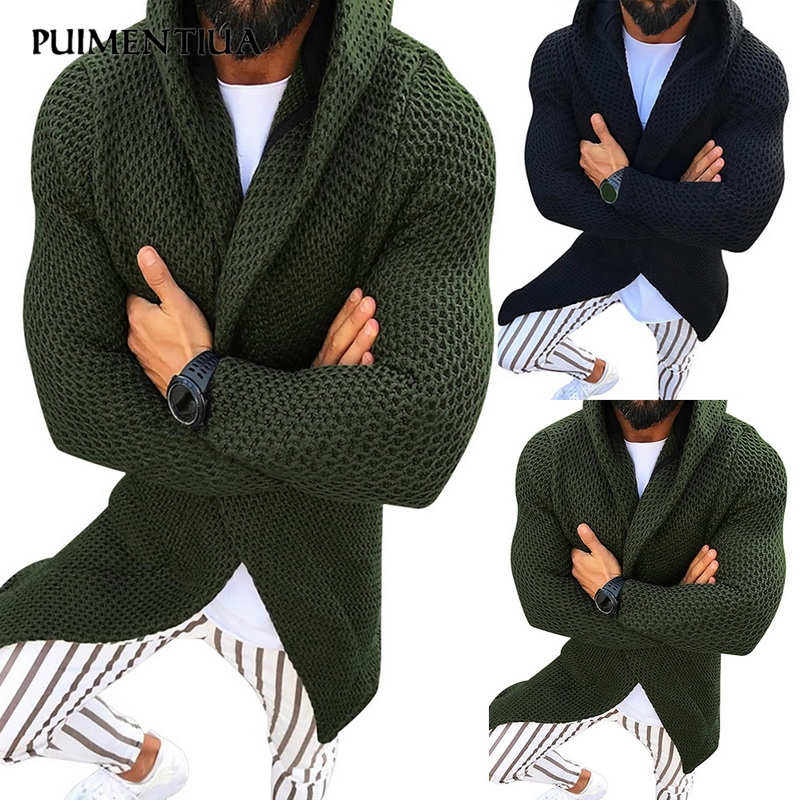Puimentiua Cardigan Men Long Sleeve Midi Sweater Coat with Pocket Spring Wear Casual Solid Color Hooded Cardigans 2020