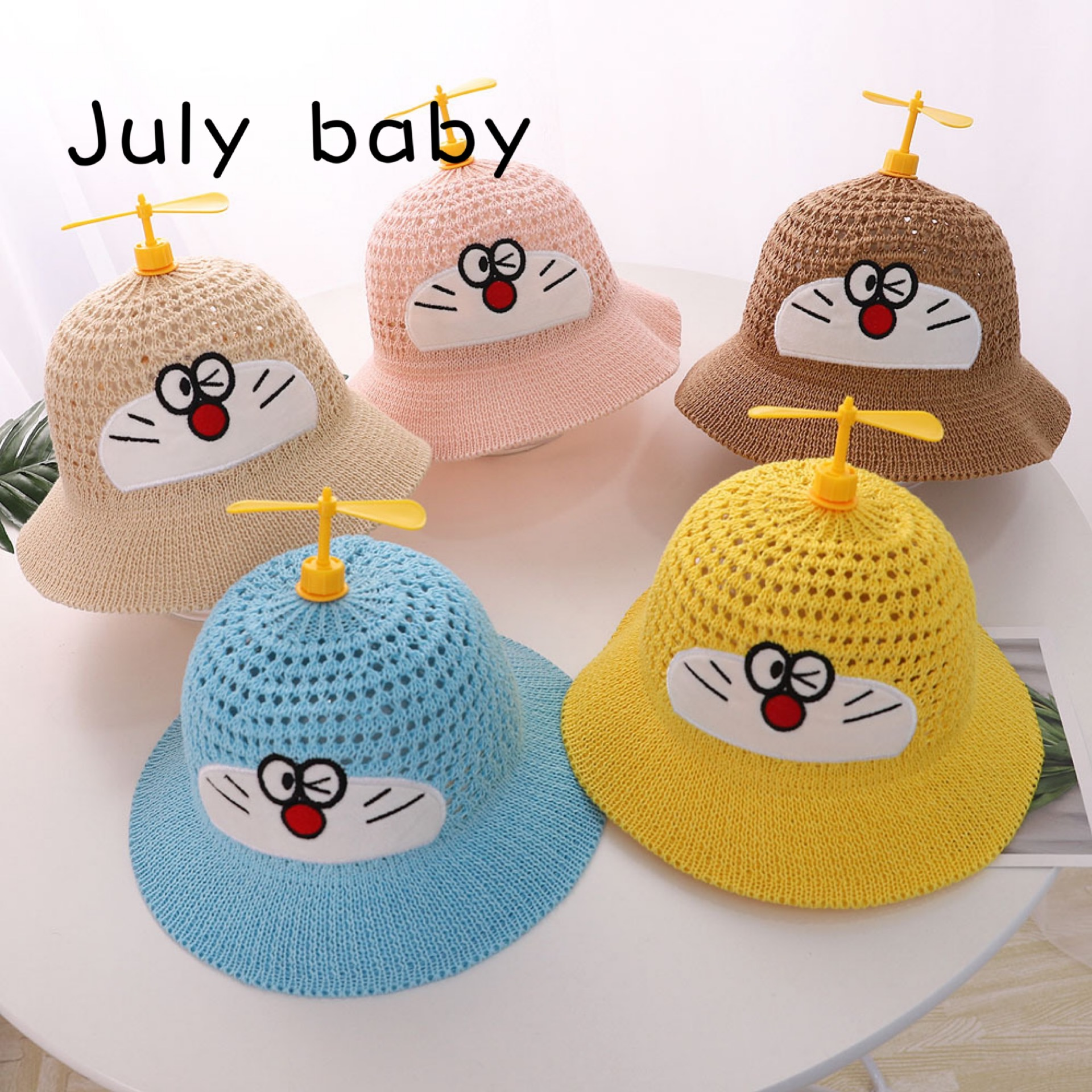 July Baby Hat Spring And Summer Fisherman Hat Cute Cartoon Boys And Girls Bamboo Dragonfly Hat Boys And Girls 1-4 Years Old
