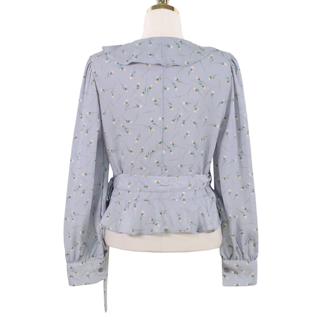 Blusas 2021 Spring Elegant Tops Blouse Women Long Sleeve Floral Chiffon Shirt Women Puff Sleeve Chic Office Lady Clothing 10249 6