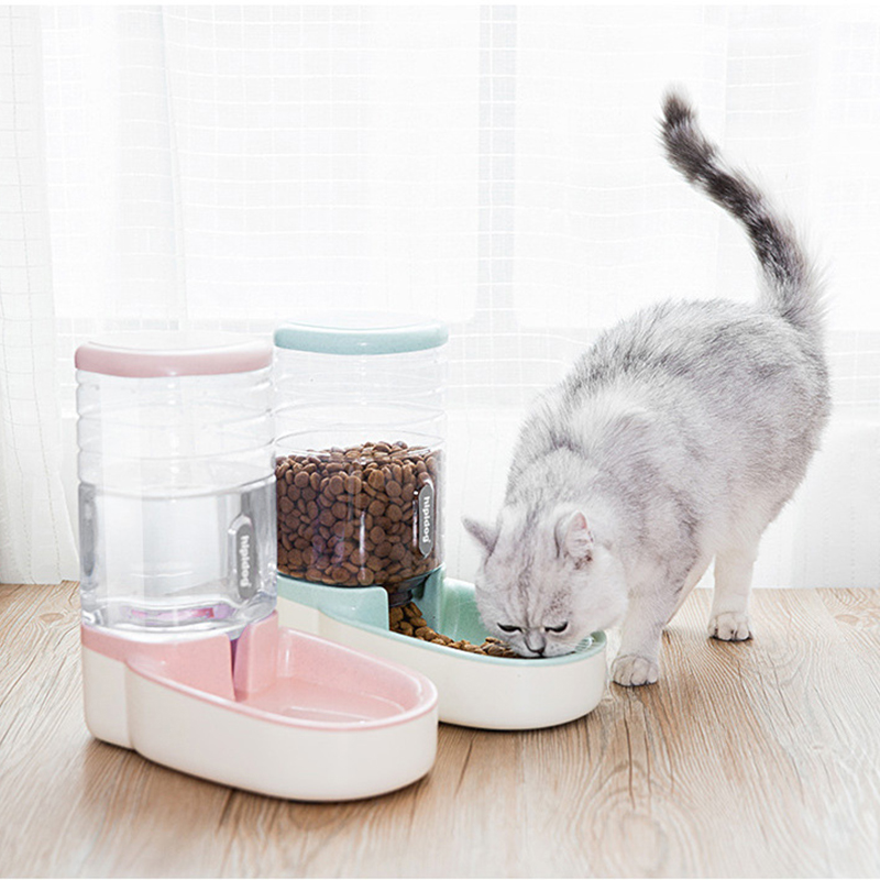 2 Pieces/set Automatic Feeder Small Size Large Capacity Cat Dog Feeding Bowls Water Dispenser Fountain Bottle Pet Food Container