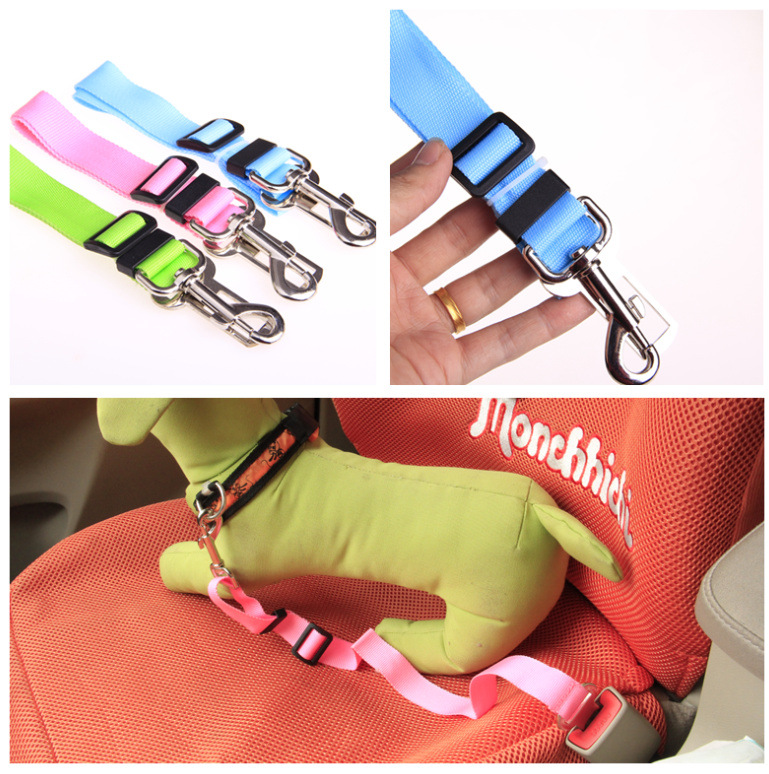 Car Pet Seat Belt Hand Holding Rope With Socket Convenient Fast Use Improve Dog Safety