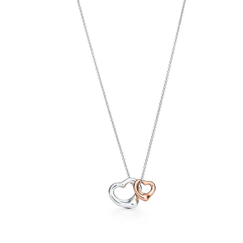 SHINETUNG Original 100% S925 en argent Sterling Double coeur en forme de coeur ouvert pendentif collier femmes bijoux fins haut de gamme