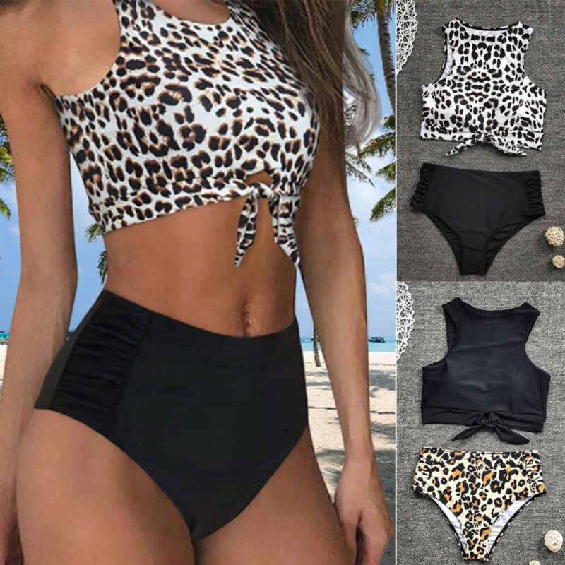 2 шт. Женский комплект бикини пуш ап с леопардовым принтом и высокой талией