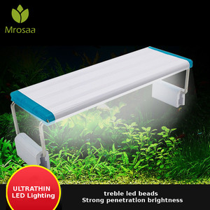 Super Slim LEDs Aquarium Lighting Aquatic Plant Light 18-75CM Extensible Waterproof Clip on Lamp For Fish Tank Blue white light