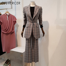 High Quality Women Pant Suits Casual Autumn lattice Blazer Jacket And Wide Leg P
