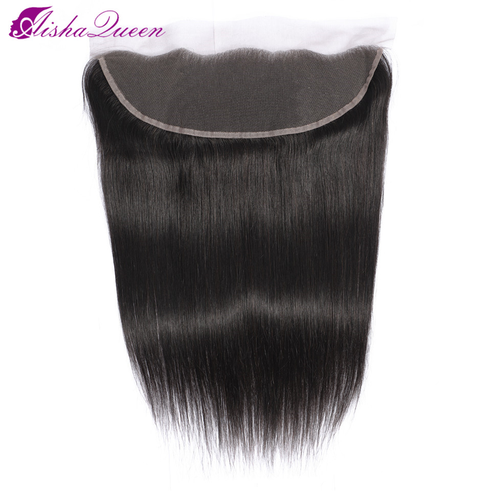 Aisha Queen Brazilian Straight Human Hair Lace Frontal Closure 13x4 Middle/Free/Three Part Swiss Lace Non Remy Natural Hairline
