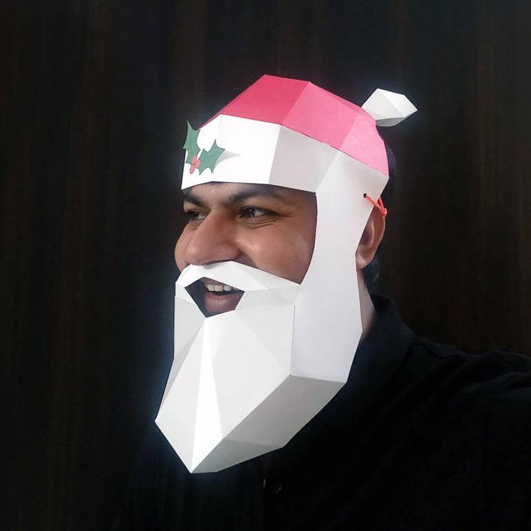 Santa Claus DIY Mask Cosplay Christmas Costume  Adult Children Cardboard Breathable Halloween Ricky Funny Masks