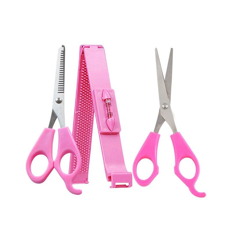 3PCS Professional Pink DIY Women Girls Artifact Style Set Kit Hair Cutting Tool Pruning Scissors Bangs Layers Style Scissors
