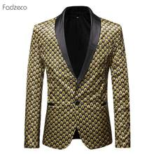 Fadzeco Arican Men's Clothes Men's Suit Jacket 2019 African National Style Printed Button Male Suit Jackets Pocket Men Clothing(China)