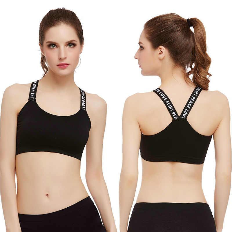 Yoga shockproof Sports bra without rim underwear beauty back letter shoulder strap tube top wrapped  sports wear for women gym