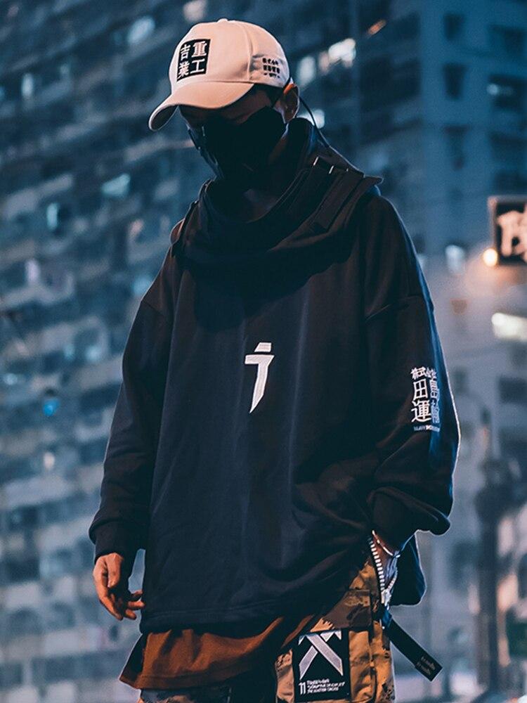 Hoodie Men Sweatshirts Pullovers Japanese Streetwear Hip-Hop Harajuku Neck-Fish Techwear