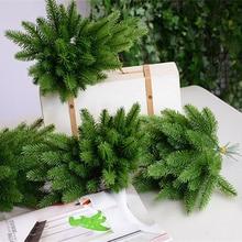 50 pcs 인공 소나무 나뭇 가지 크리스마스 파티 장식에 대 한 플라스틱 소나무 잎 가짜 단풍 가짜 꽃 diy 공예 화 환