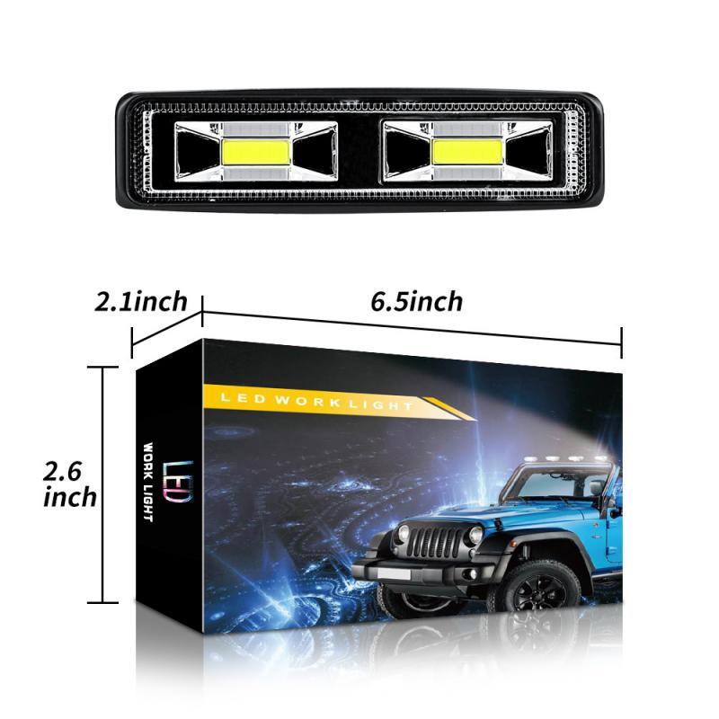 1/2 Pcs Car SUV 2-LED Work Driving Fog Light 12V 24V 48W Daytime Running Spotlight Off-Road 4000LM White LED Work Lights