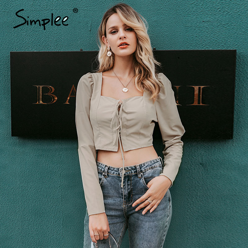 Simplee Vintage Lace Up Button Women Blouse Shirt Fashion Puff Sleeve Solid Sexy Ladies Blouse Shirts Casual Party Elegant Top
