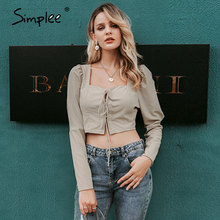 Simplee Vintage à lacets bouton femmes blouse chemise mode manches bouffantes solide sexy dames blouse chemises décontracté fête haut élégant