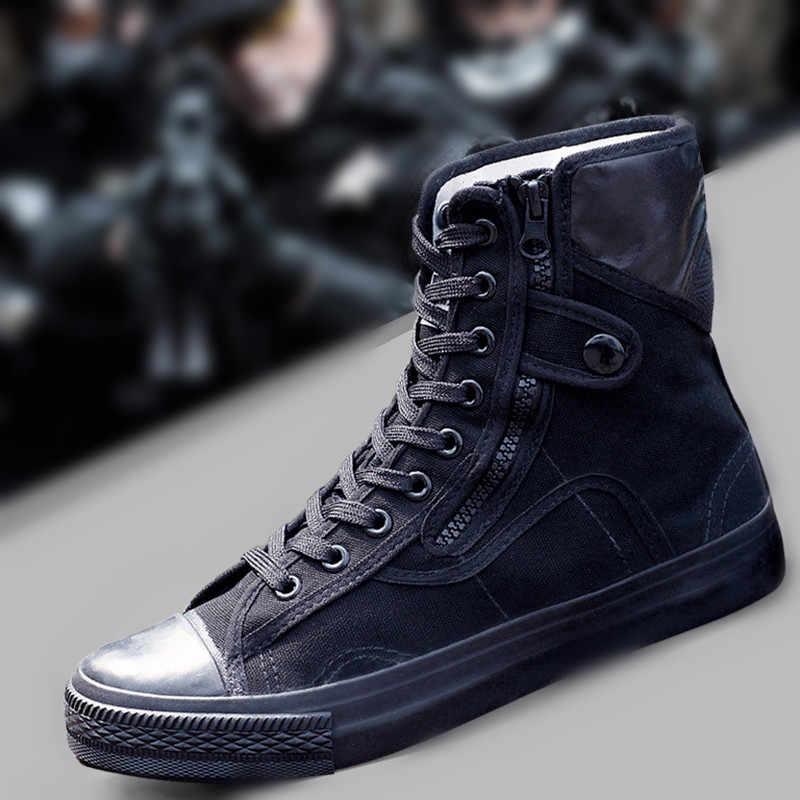 2019 軍のファッション黒通気性安全靴作業保護靴アンチスキッド摩耗トレーニングブーツ高 Zapatos Hombre R2-44