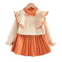 Зимний комплект одежды для маленьких девочек свитер с длинным