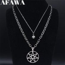 2 adet AFAWA yedi dağ yıldız paslanmaz çelik katmanlı kolyeler gümüş renk kadınlar Punk kolye takı gargantilla N4113S02