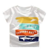 Summer Baby Boy Girl T-Shirt Toddler Kids Color Block Letter Print  Clothes Short Sleeve O-Neck T-Shirt Top Children T-Shirt color block single pocket t shirt