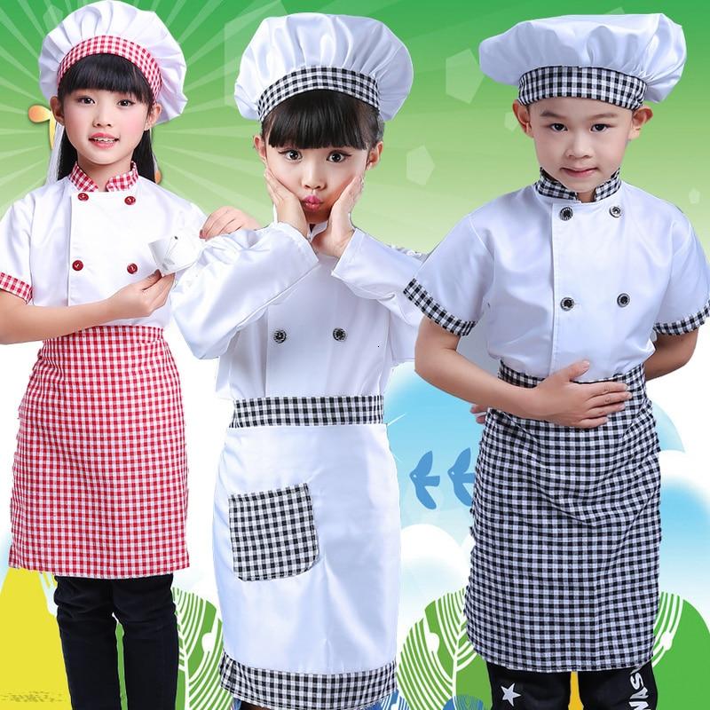 Kids Cook Tshirt Chef Uniform Children Kitchen Hat Cap Work Jackets Restaurant Halloween Performance Stage Party Cosplay Costume