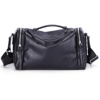 Travel Bag Women Black Genuine Leather Shoulder Corssbody Bag Hand Luggage for Men Duffle Bag Organizer Packing Cube Weekend Bag
