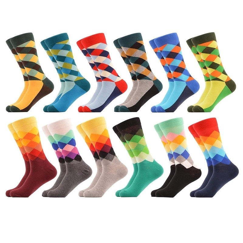 Fashion Men's Dress Cool Colorful Fancy Novelty Funny Casual Combed Cotton Crew Socks For Men Foot Accessories Gifts For Men