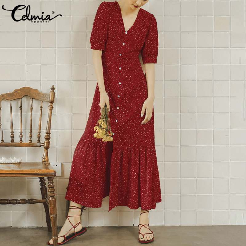 Celmia Korean Women Polka Dot Vintage Summer Dress Dress 2020 Fashion Half Sleeve Female Split Buttons Ruffles Midi Vestidos 5XL