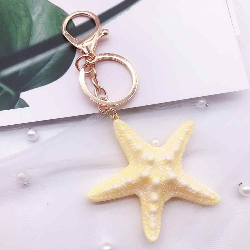 Fantasía y Fantasía dibujos animados mar mundo estrella de mar perla Concha llavero mujer llavero lindo llavero de niña estrella de mar llavero mujer regalo