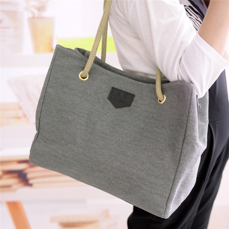 Women Fashion Canvas Handbag Large Shopping Tote Holiday Big Basket Bags Woven Beach Shoulder Bag Summer Beach Bag