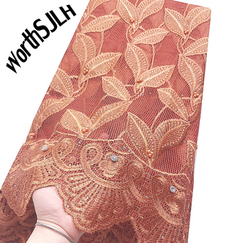 Soft Swiss Guipure Lace Fabric Orange Lilac Latest African Laces 2020 High Quality Embroidery Nigerian Lace Fabrics With Beads фото