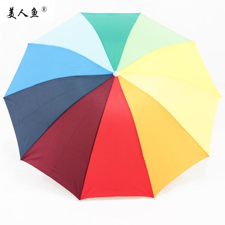 Rainbow Umbrella Manufacturers Hot Sales All-Weather Umbrella Mermaid Card Genuine Product Foldable Umbrella Creative 10-Color B