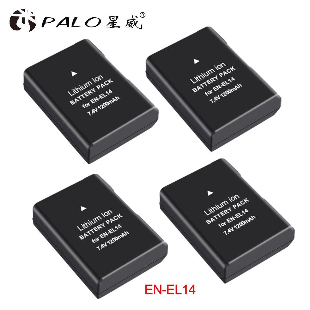 PALO 4 pièces 1200mAh EN-EL14 EN-EL14a ENEL14 EL14 batterie pour Nikon P7800 P7700 P7100 P7000 D5500 D5300 D5200