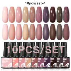 Mtssii 10Pcs/set Color Gel Nail Polish Set 100 Colors Semi Permanent UV Led Gel Varnish Soak Off Nail Lacquers Base Top Coat