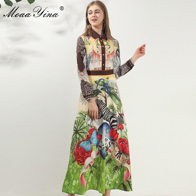 Image 5 - MoaaYina Fashion Designer dress Spring Autumn Women Dress Long  sleeve Animal Floral Print Vintage Maxi DressesDresses