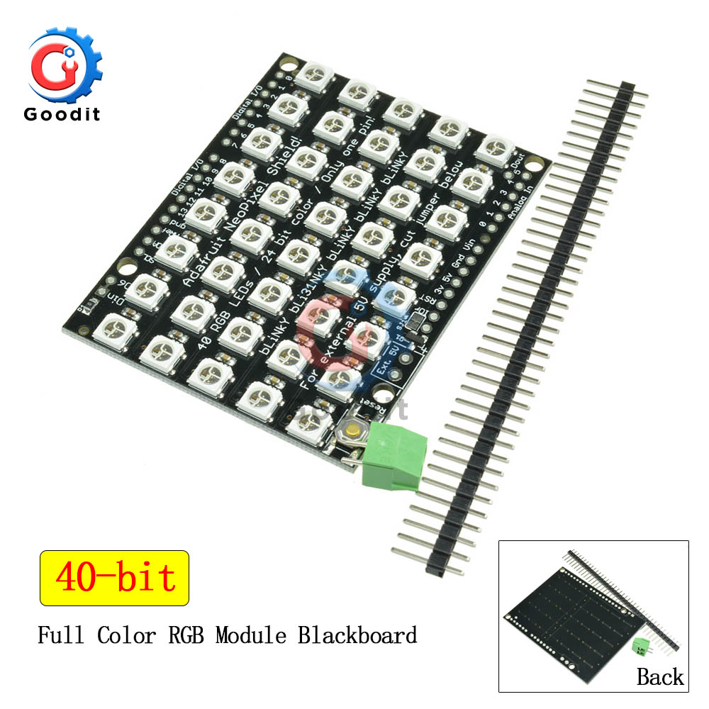 WS2812 5050 RGB LED Ring Lamp Light WS2812B Module Strip 40 Bits 5*8 Bit With Integrated Drivers RGB 40 For Arduino LED Lights