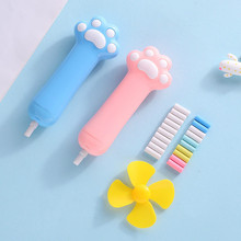 Cute Cat Paw Electric Eraser Set With Four-leaf Fan Gift 10 Rubber Cores Retractable Pencil Rubber Eraser Student Stationery