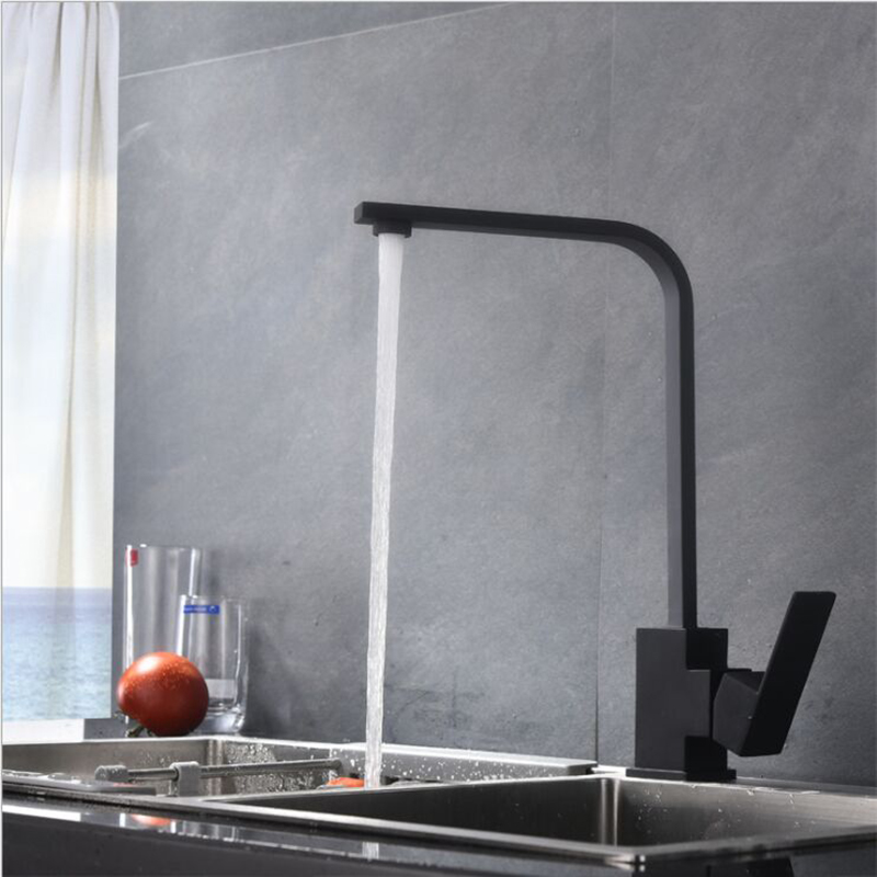 Kitchen Faucets Frosted Black Stainless Steel Swivel Kitchen Sinks Faucet Rotating Tap Single Hole Handle Swivel Mixer Tap