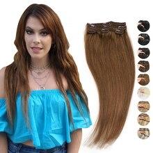 MRSHAIR волосы на заколках для наращивания, волосы для наращивания на заколках 9 зажимы 3 шт./лот Ombre Человеческие волосы прямые волосы темно-каш...